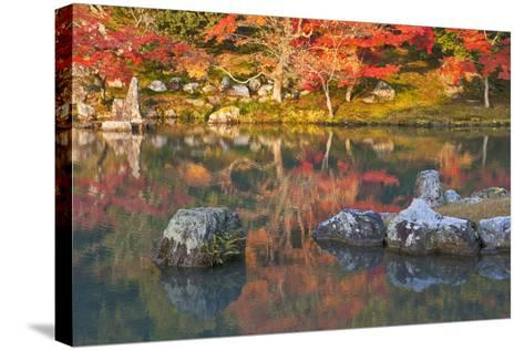 Morning Sunlight Illuminates Autumn Foliage and Reflections in Pond, Sogen Garden, Tenryuji Temple-Ben Simmons-Stretched Canvas Print
