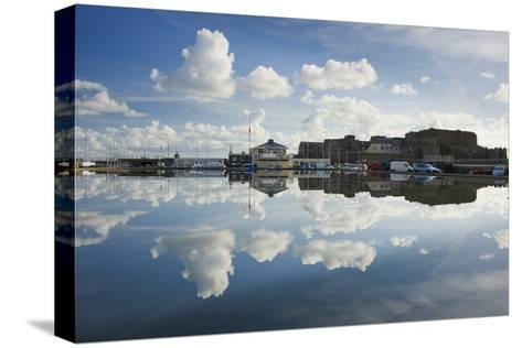 Guernsey Yacht Club and Castle Cornet in the Still Reflections of a Model Boat Pond, St Peter Port-David Clapp-Stretched Canvas Print