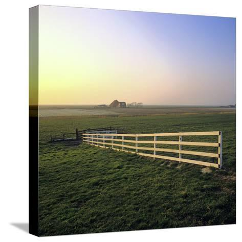 Friesland, Fence in a Field Near Workum-Marcel Malherbe-Stretched Canvas Print