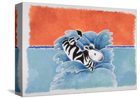 Happy Baby Zebra Jumping into Water-Susie Jenkin Pearce-Stretched Canvas Print