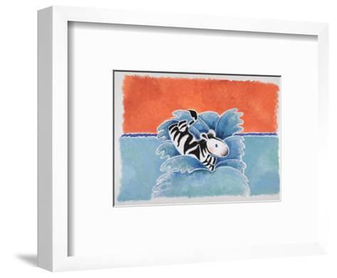Happy Baby Zebra Jumping into Water-Susie Jenkin Pearce-Framed Art Print