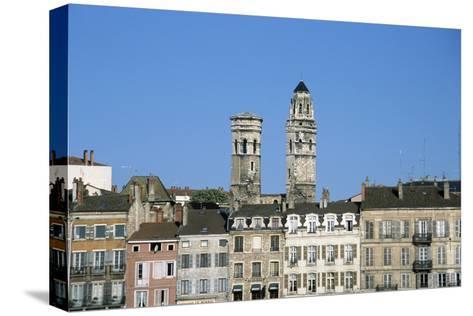 Town. Eglise Vieux Saint-Vincent. Two Stone Towers. Historic Houses- LatitudeStock-Stretched Canvas Print