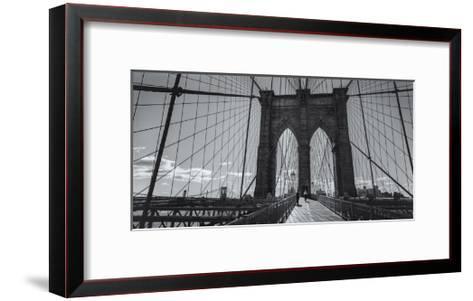 On the Brooklyn Bridge Shadows  Panorama-Henri Silberman-Framed Art Print