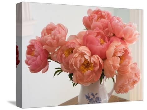 Peonies in Porcelain Vase-Henri Silberman-Stretched Canvas Print