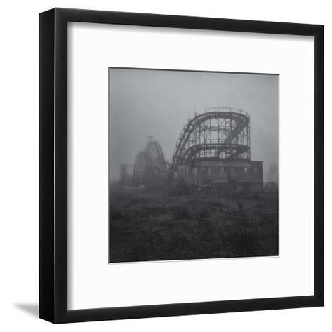 Coney Island Thunderbolt Ride Fog 3-Henri Silberman-Framed Art Print