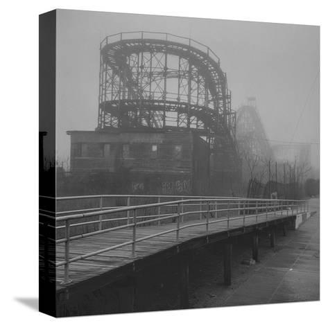 Coney Island Thunderbolt Ride Fog-Henri Silberman-Stretched Canvas Print