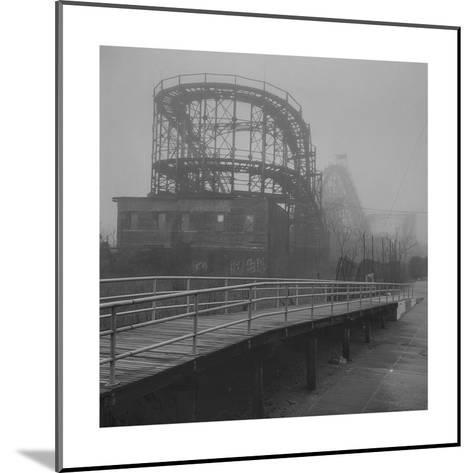 Coney Island Thunderbolt Ride Fog-Henri Silberman-Mounted Photographic Print