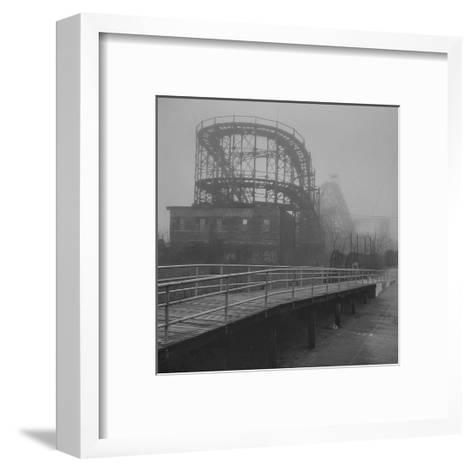 Coney Island Thunderbolt Ride Fog-Henri Silberman-Framed Art Print