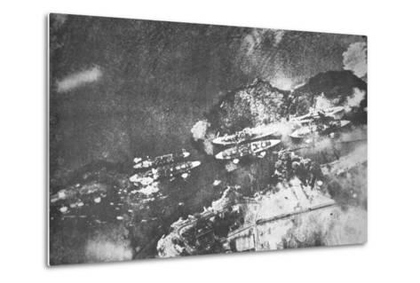 U.S. Warships on Battleship Row, Pearl Harbor, 7th December, 1941-Japanese Photographer-Metal Print