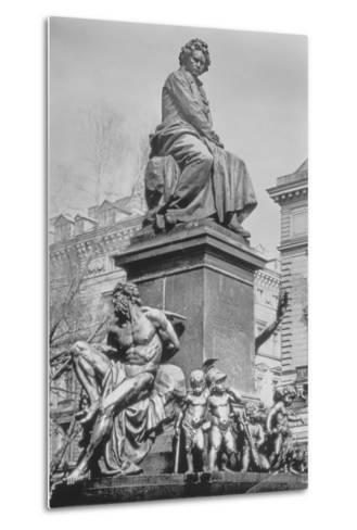 Monument to Ludwig Van Beethoven, the Composer Seated on a Pedestal Above Figures Alluding to the?--Metal Print