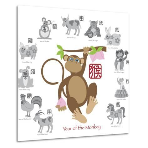 Chinese New Year Monkey Color with Twelve Zodiacs Illustration-jpldesigns-Metal Print