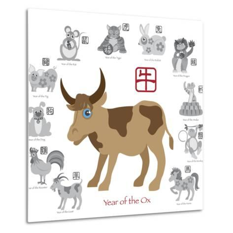 Chinese New Year Ox Color with Twelve Zodiacs Illustration-jpldesigns-Metal Print