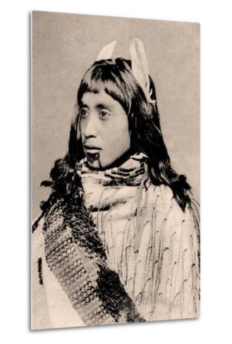 Maori Girl with Moko Chin--Metal Print