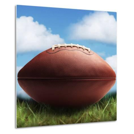 Football in Grass-James Noble-Metal Print