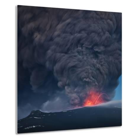 Ash plume from the Eyjafjallajokull eruption--Metal Print