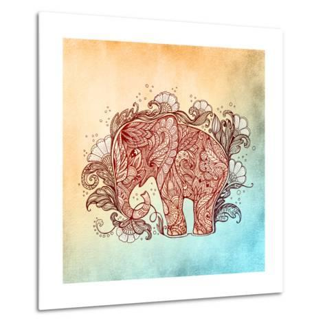 Beautiful Hand-Painted Elephant with Floral Ornament-Vensk-Metal Print