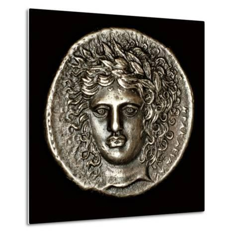 Ancient Greek Silver Tetradrachm with Head of Apollo--Metal Print