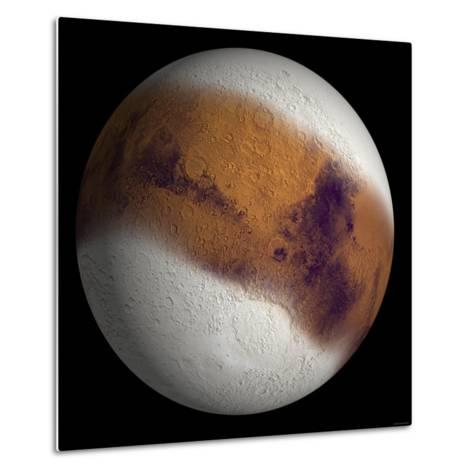 Simulated View of Mars-Stocktrek Images-Metal Print