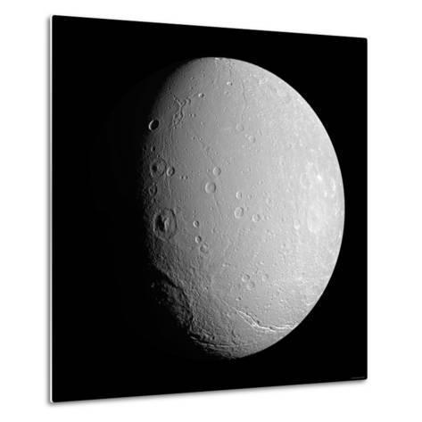 Saturn's Moon Dione-Stocktrek Images-Metal Print