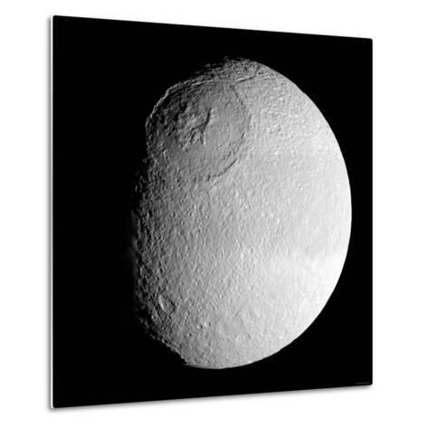 Saturn's Moon Tethys-Stocktrek Images-Metal Print