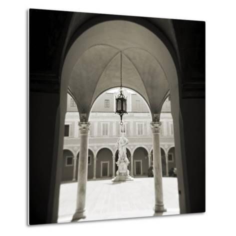View Through Archways into Sunlit Courtyard, Pisa, Tuscany, Italy-Lee Frost-Metal Print