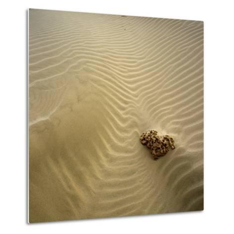 Rock Eroding in Desert Sand-Micha Pawlitzki-Metal Print