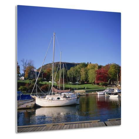 Camden Harbour with Fall Colours and Mount Battie in the Background, Maine, New England, USA-Roy Rainford-Metal Print