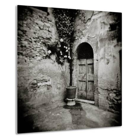 Corner of Quiet Square in Village of Lucignano D'Asso, Tuscany, Italy-Lee Frost-Metal Print