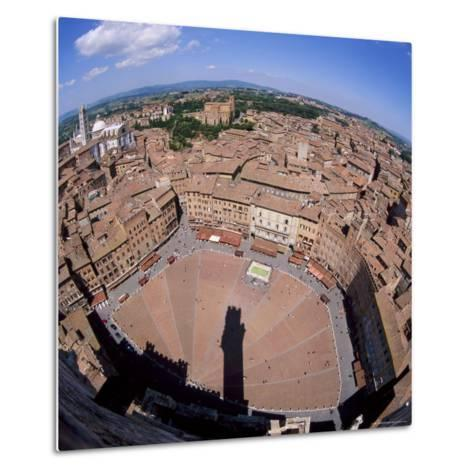 Aerial View of the Piazza Del Campo and the Town of Siena, Tuscany, Italy-Tony Gervis-Metal Print
