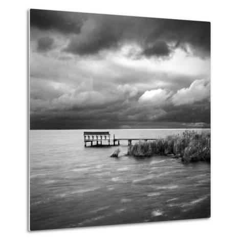A Dock on the Bay with a Storm Approaching in the Outer Banks-Keith Barraclough-Metal Print