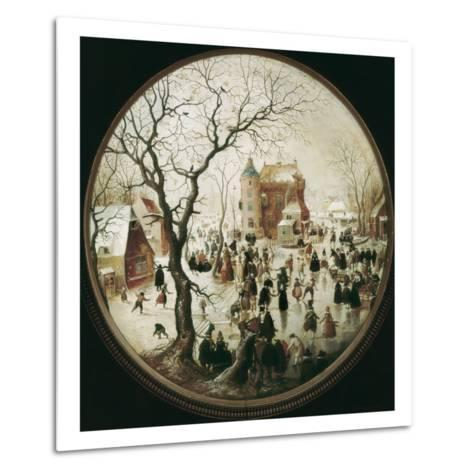 A Winter Scene with Skaters Near a Castle-Hendrik Avercamp-Metal Print