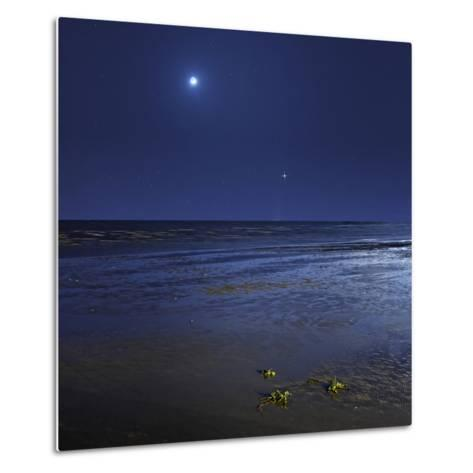 Venus Shines Brightly Below the Crescent Moon from Coast of Buenos Aires, Argentina-Stocktrek Images-Metal Print