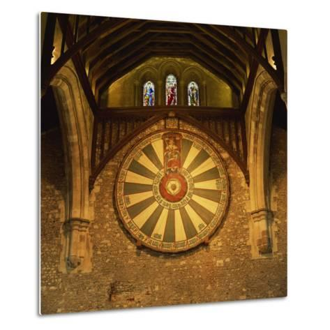 King Arthur's Round Table Mounted on Wall of Castle Hall, Winchester, England, United Kingdom-Roy Rainford-Metal Print