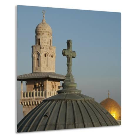 Ecce Homo Dome, Minaret and Dome of the Rock, Jerusalem, Israel, Middle East-Eitan Simanor-Metal Print