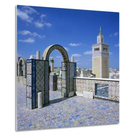 View over City and Great Mosque from Tiled Roof Top, Tunis, Tunisia, North Africa, Africa-Stuart Black-Metal Print
