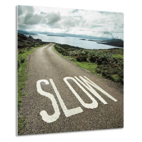 Road leading to the ocean with 'slow' painted on it--Metal Print