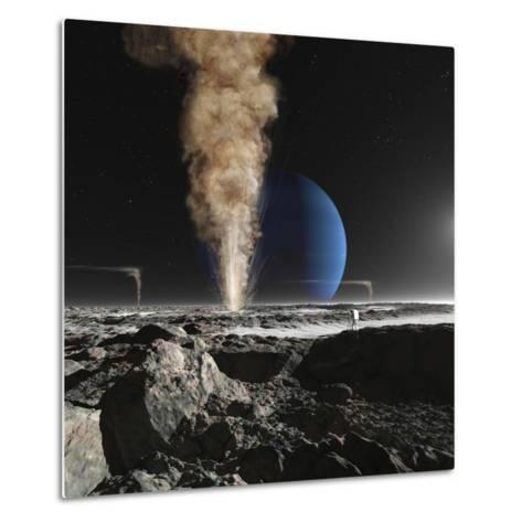 An Astronaut Observes the Ruption of One of Triton's Giant Cryogeysers-Stocktrek Images-Metal Print