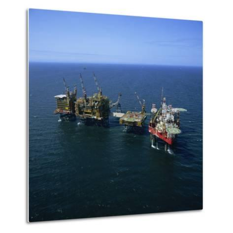 Seafox Drill Rig and Platform in the Sea at Morecambe Bay Gas Field, England, United Kingdom-Nick Wood-Metal Print