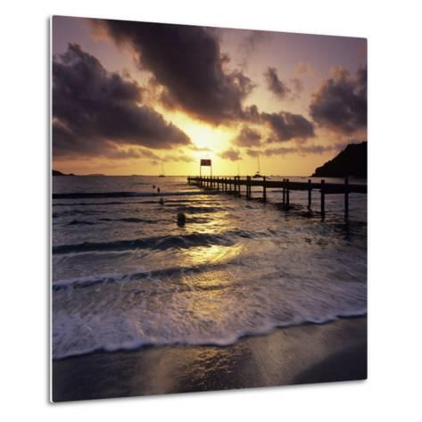 Pier at Sunrise, Plage De Santa Giulia, South East Corsica, Corsica, France, Mediterranean, Europe-Stuart Black-Metal Print