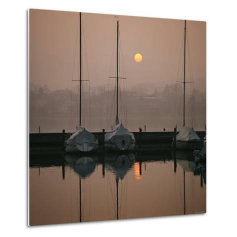 Anchored Sailboats at Sunrise in Mythen Quai Harbor-David Pluth-Metal Print