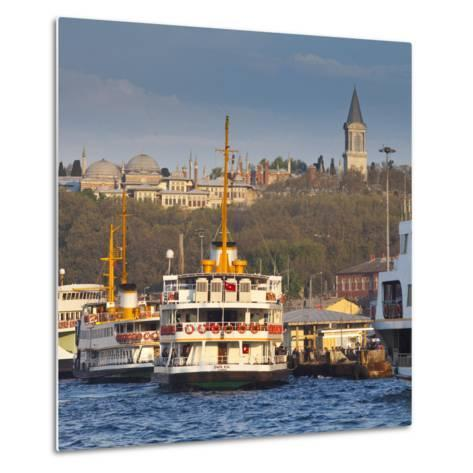 Topkapi Palace and Ferries on the Waterfront of the Golden Horn, Istanbul, Turkeyistanbul, Turkey-Jon Arnold-Metal Print
