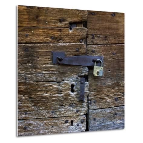 Old Wooden Door with Lock-Bernard Jaubert-Metal Print