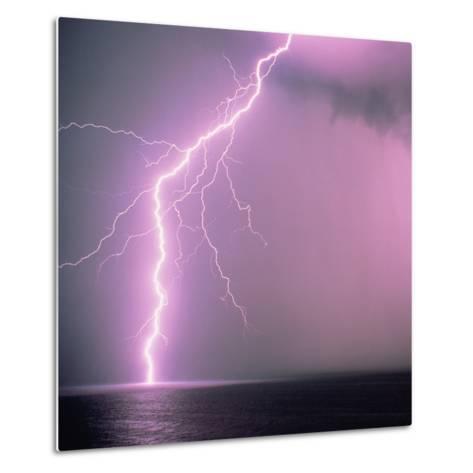 Lightning across the sea-Klaus Hackenberg-Metal Print