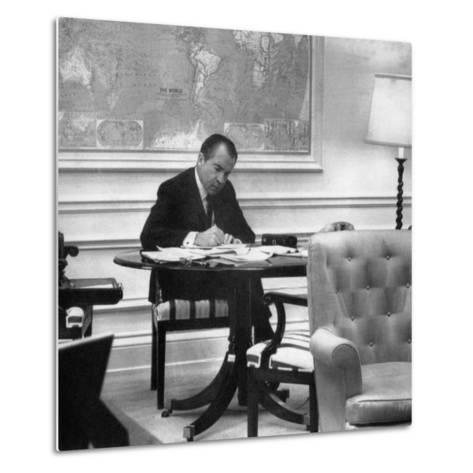 1971 US Presidency, President Richard Nixon Working on His State of the Union Address, January 1971--Metal Print