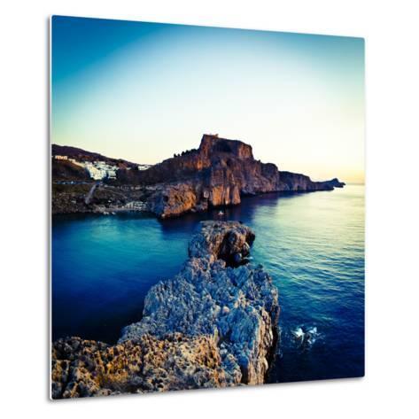 Lindos Acropolis and Harbour, Lindos, Rhodes, Greece-Doug Pearson-Metal Print
