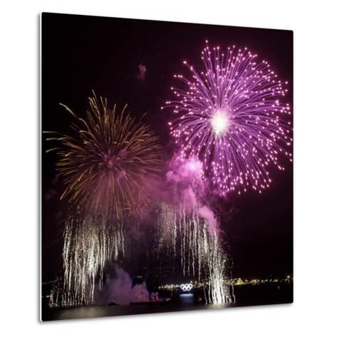 Fireworks Explode over the Olympic Rings During the Opening Ceremony of the Vancouver 2010 Olympics--Metal Print