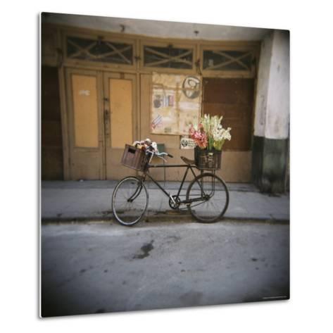 Bicycle with Flowers in Basket, Havana Centro, Havana, Cuba, West Indies, Central America-Lee Frost-Metal Print