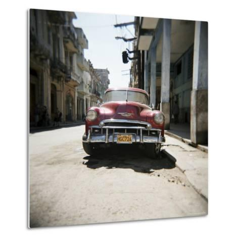 Old Red American Car, Havana, Cuba, West Indies, Central America-Lee Frost-Metal Print