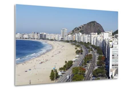 View of Copacabana Beach and Avenida Atlantica, Copacabana, Rio de Janeiro, Brazil, South America-Ian Trower-Metal Print