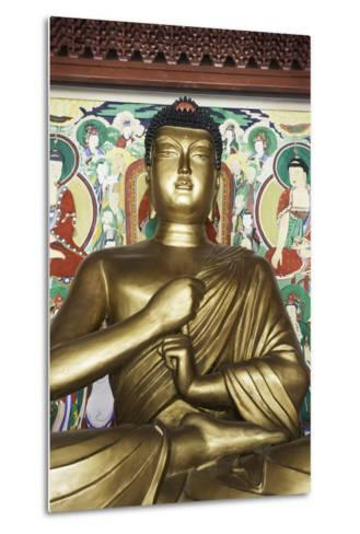 Statue of the Buddha, Pohyon Buddhist Temple, Democratic People's Republic of Korea, N. Korea-Gavin Hellier-Metal Print